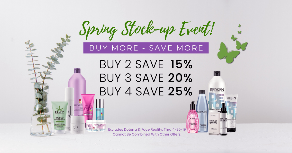 spring salon spa retail stock up event