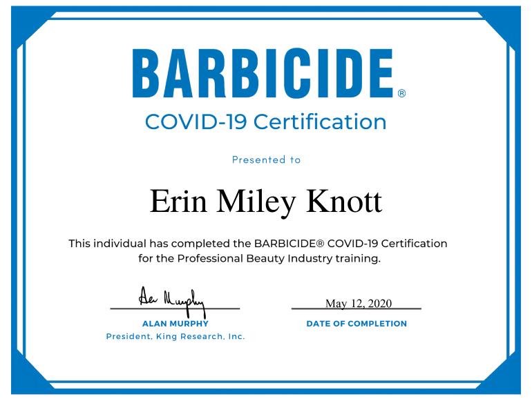 Erin M Knott Barbicide® Covid-19 Certificate