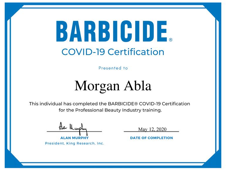 Morgan A Barbicide® Covid-19 Certificate