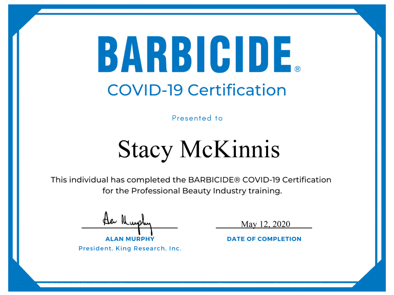 Stacy M Barbicide® Covid-19 Certificate